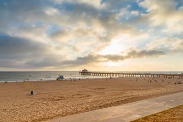 California beach at sunset. Manhattan Beach, Los Angeles, USA.