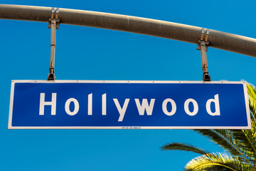 Hollywood boulevard sign, with palm trees in the background.