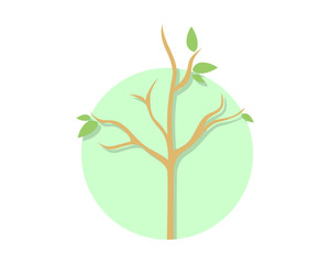 circle dead tree leafless plant fall image vector icon 1