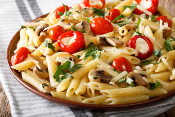 Vegetarian food: pasta penne with champignons, tomatoes, stuffed peppers close-up. horizontal