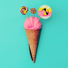 Candy Lolipop Ice Cream. Sweet Fashion art. Flatlay Design