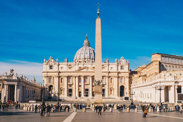 Poster de jardin Rome St. Peter's square and Saint Peter's Basilica in the Vatican City in Rome, Italy