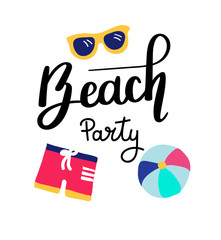 Beach Party. Summer quote. Handwritten for holiday greeting cards. Hand drawn illustration. Handwritten lettering. Hand Drawn lettering. Summer card design elements. Vector 10 eps