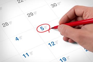 Mark on the calendar at April 5, 2016