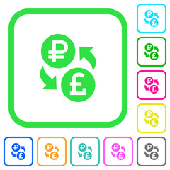 Ruble Pound money exchange vivid colored flat icons