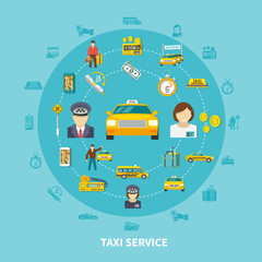 Taxi Icons Round Composition