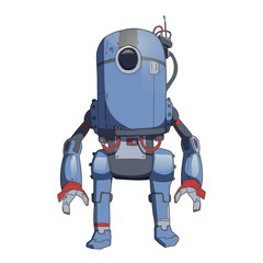 Humanoid robot, android with artificial intelligence. Vector illustration, isolated on white background.