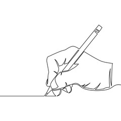One continuous line drawing of hand drawing a line