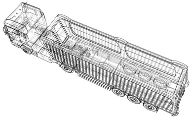 Dump truck. Isolated. Created illustration of 3d. Wire-frame