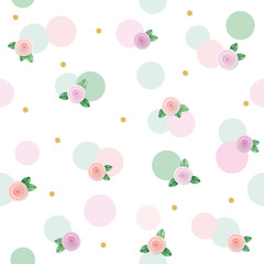 Floral seamless pattern background with roses and polka dots. Pink and pastel green trendy colors. For birthday, wedding and scrapbook design.
