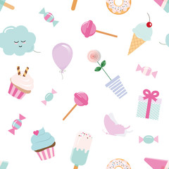 Girly seamless pattern background with sweets and cute elements. Pastel pink and blue.