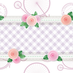 Shabby chic textile seamless pattern background. Girly. Different fabric pieces collage, decorated with lace and roses. Vector