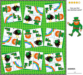 Visual logic puzzle St. Patrick's Day themed: Find the two identical cards. Suitable both for children and adults. Answer included.
