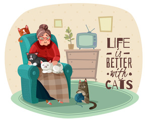 Lady In Armchair Cats Illustration