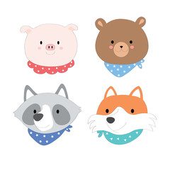 cartoon cute face animals, pig, bear, fox, raccoon vector.