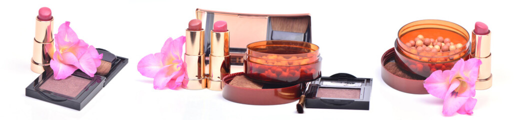 Cosmetics  on a white background
