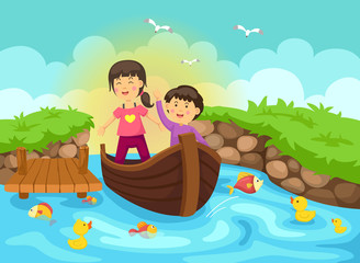 Wall Murals Green coral Illustration of a boy and girl are sailing on a boat