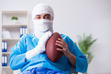 Injured american football player recovering in hospital