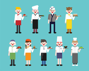 various chef dishes and uniforms vector flat design illustration set