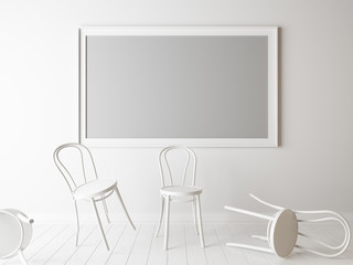 White chairs and empty frame in a room.