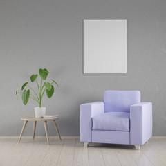 Mockup poster in the interior, 3D render