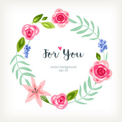 simple background spring summer floral text frame with red and pink flowers rose peony