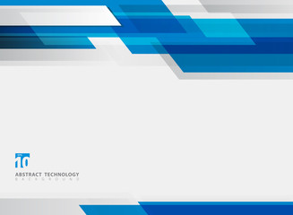 Abstract technology geometric blue color shiny motion background.
