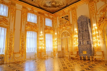 Interior of Catherine Palace a Rococo palace in Tsarskoye Selo Saint Petersburg Russia Wall mural