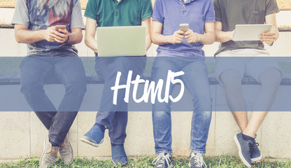Group of people using mobile devices and HTML5 concept