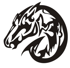 Abstract black horse head symbol. Tribal peaked twirled mustang head on a white background for your design