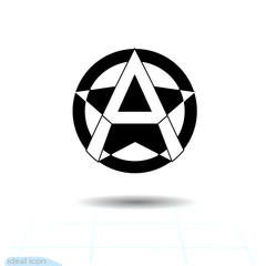 Anarchy sign. Vector image, white background. Anarchist star