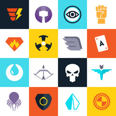 Superhero vector badges with super weapons. Superheroes symbols collection