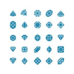 Diamond abstract icons. Expensive jewelry vector symbols