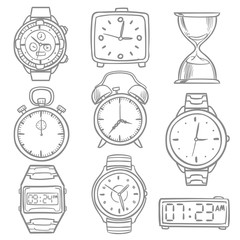 Hand drawn wristwatch, doodle sketch watches, alarm clocks and timepiece vector set
