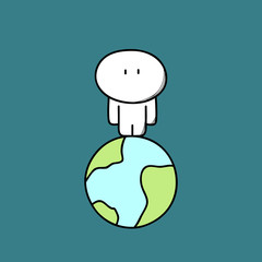 Lonely cute man on the planet Earth in empty space. Alone person in the whole universe, loneliness and solitude cartoon vector illustration.