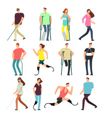 Disabled persons vector cartoon characters set. Handicapped people isolated on white background