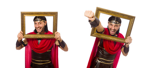 Gladiator holding picture frame isolated on white