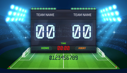 Stadium electronic sports scoreboard with soccer time and football match result display
