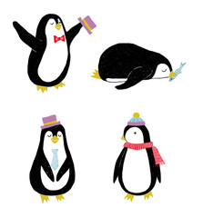 Vector set with 4 penguins in flat style