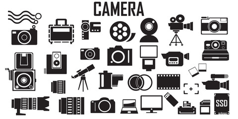 camera ,photo, photography, digital, lens, film illustration flat icons. mono vector symbol