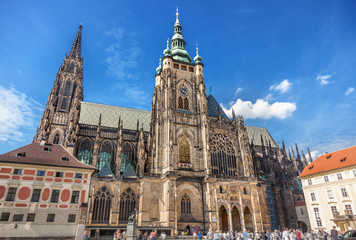View to the St. Vitus cathedral, Prague