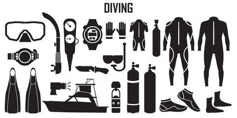 diving, scuba ,dive, water, sea, sport, mask, illustration, snorkel, diver  illustration flat icons. mono vector symbol