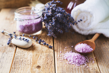 Lavander salt with natural spa products and decor for bath