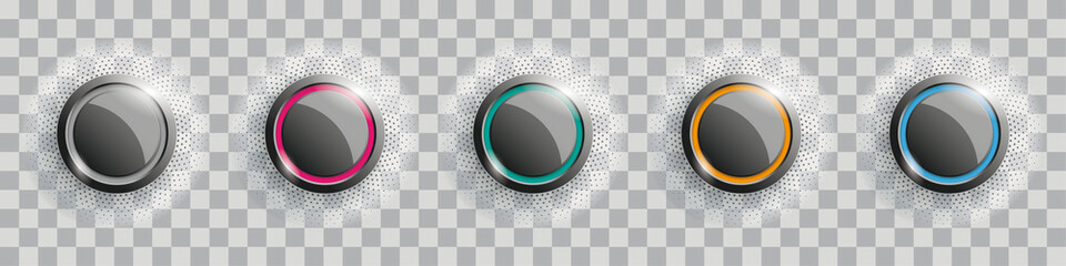 Colored Buttons With Halftone Transparent