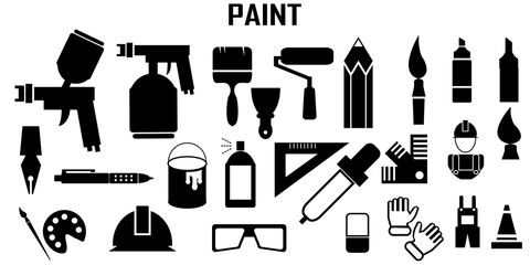 paint craft handmade flat icons. mono vector symbol