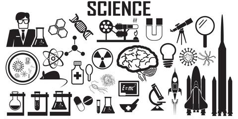 science flat icons. mono vector symbol