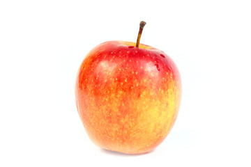 a beautiful red fresh apple as part of the harvest