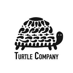 Turtle logo, black silhouette for your design