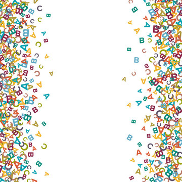 Vector colorful background made from alphabet symbols, letters or characters in flat style