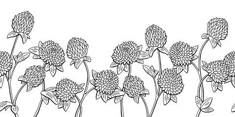 Clover flower graphic black white seamless background sketch illustration vector